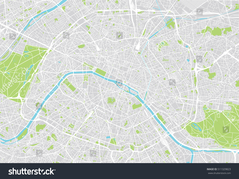 Urban City Map Paris France Stock-Vrgrafik (Lizenzfrei) 511329823 on
