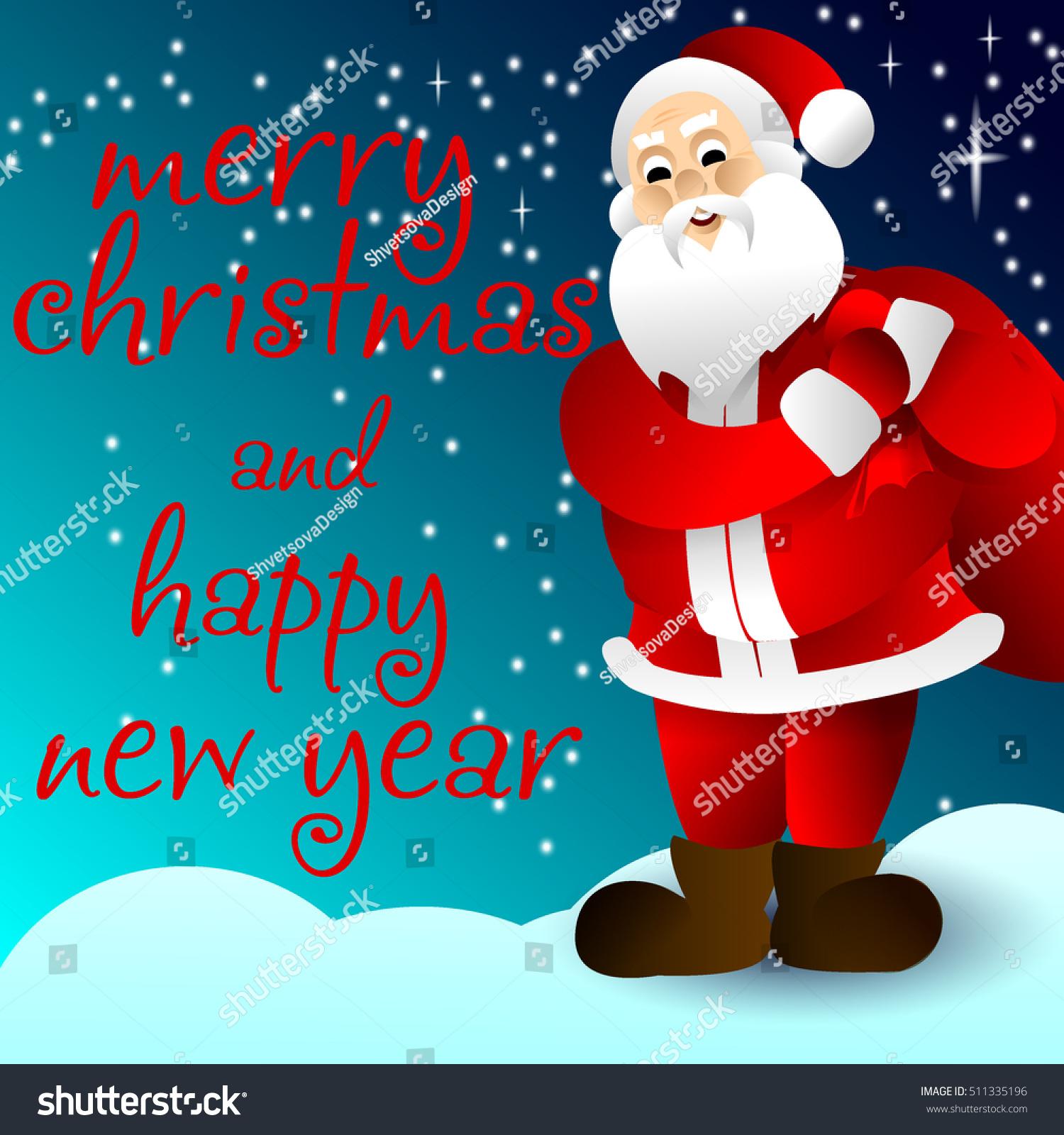 Vector Xmas Illustration Santa Claus Say Stock Vector (Royalty Free ...
