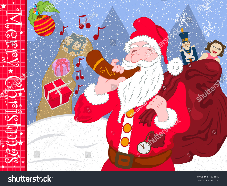Santa claus blowing his magic horn stock vector 511336552 shutterstock m4hsunfo