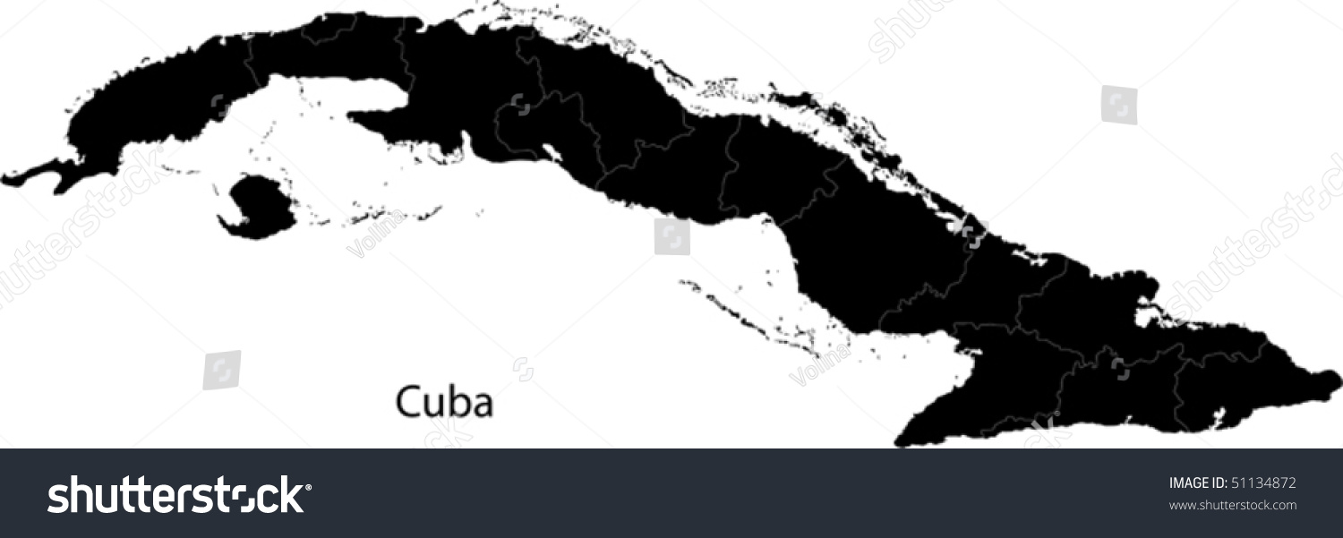 Black Cuba Map Provinces Stock Vector Royalty Free 51134872