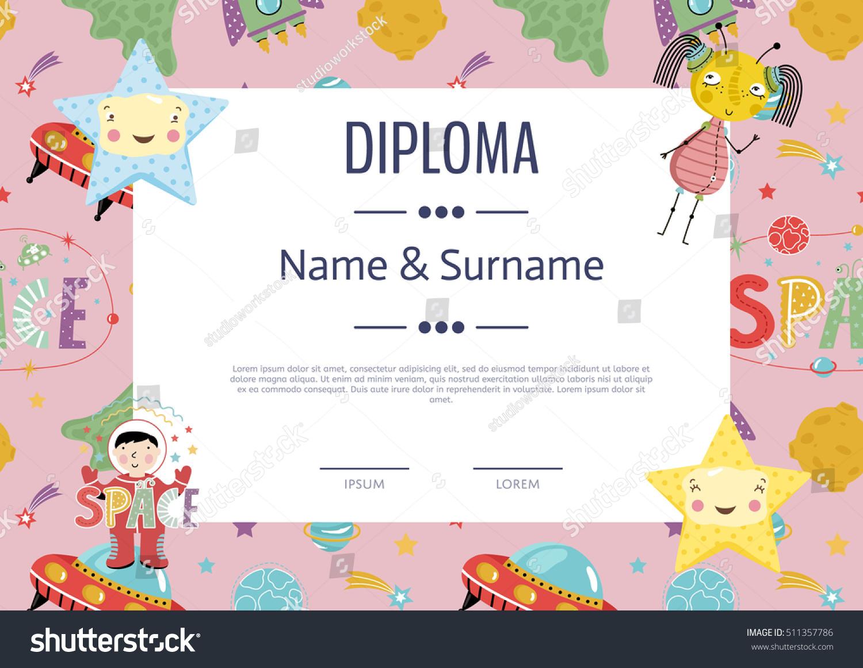 preschool elementary school kids diploma kids stock vector  preschool elementary school kids diploma kids certificate or diploma layout
