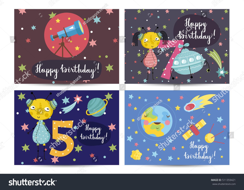 Happy Birthday Kids Greeting Card Cartoon Stock Vector Royalty Free