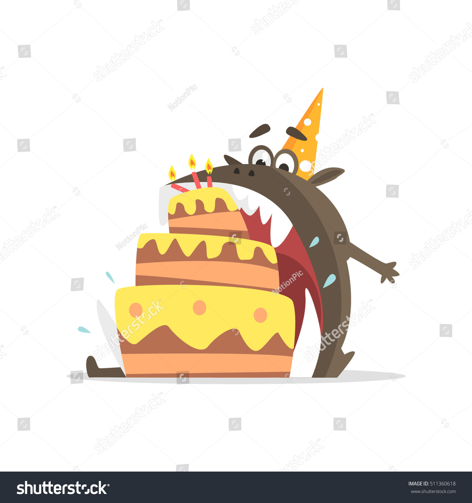Black Monster Eating Party Cake One Stock Vector 511360618
