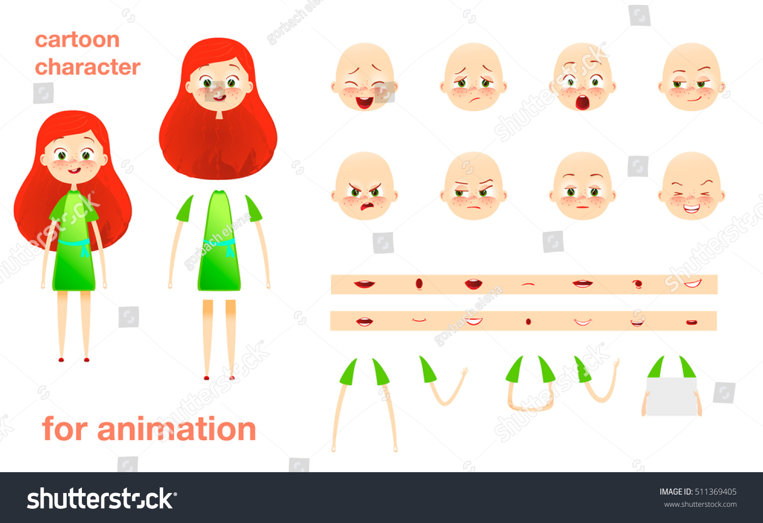 Character Design For Animation : Schoolgirl character design animation parts body stock