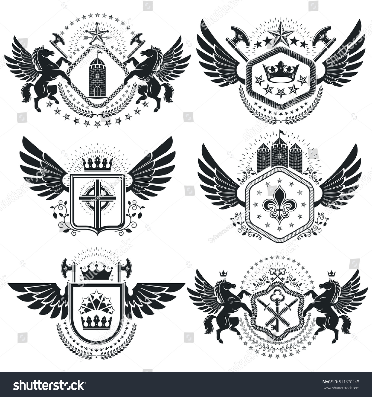 Heraldic coat arms vintage vector emblems stock vector 511370248 heraldic coat of arms vintage vector emblems classy high quality symbolic illustrations collection biocorpaavc Images