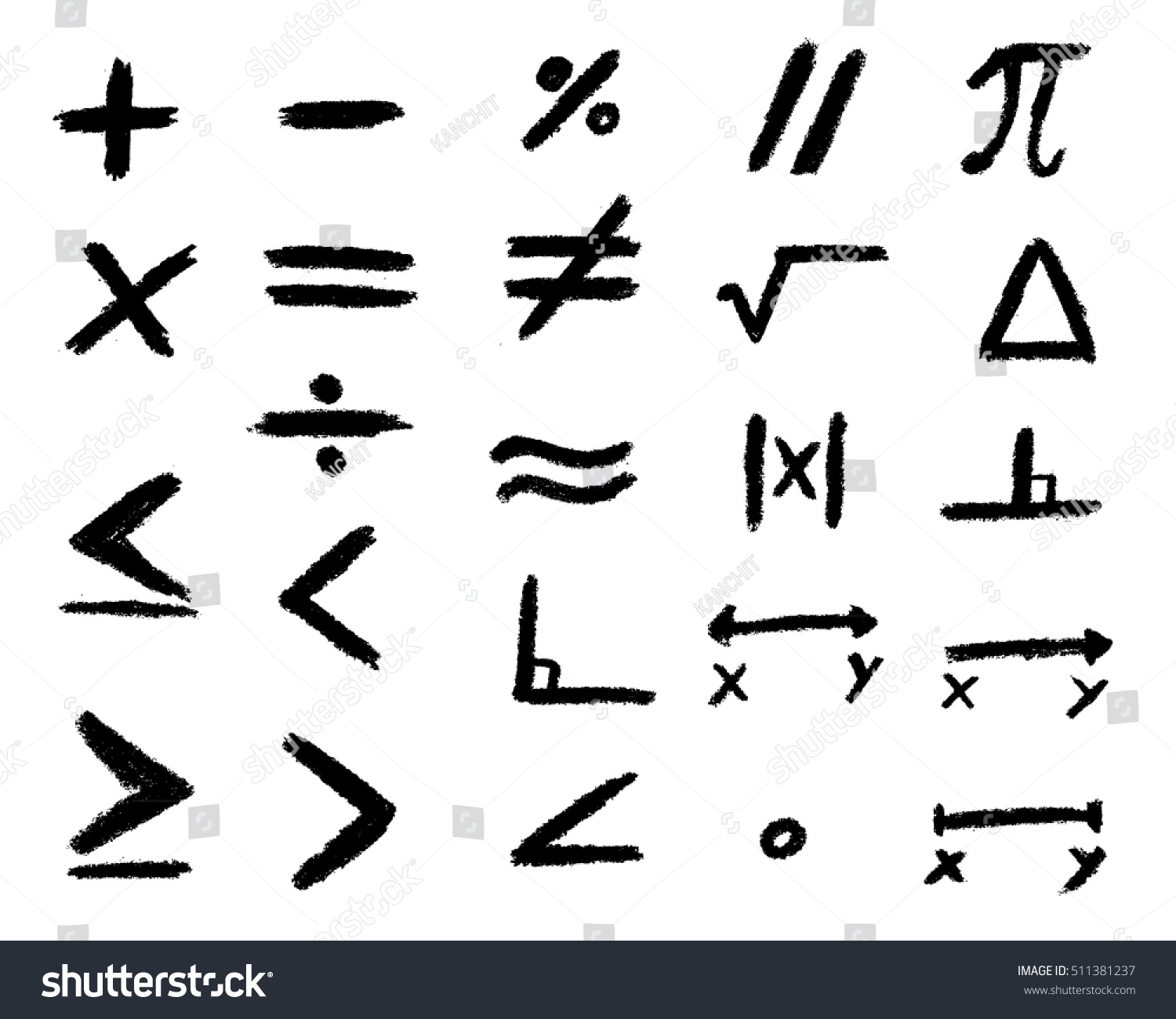 Set Hand Drawing Black Math Symbol Stock Vector Royalty Free
