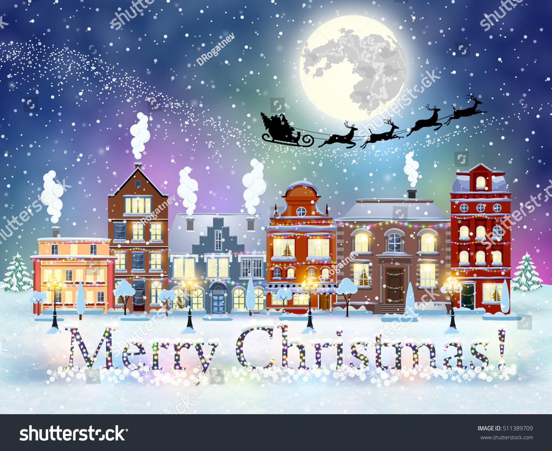 Happy New Year Merry Christmas Winter Stock Vector