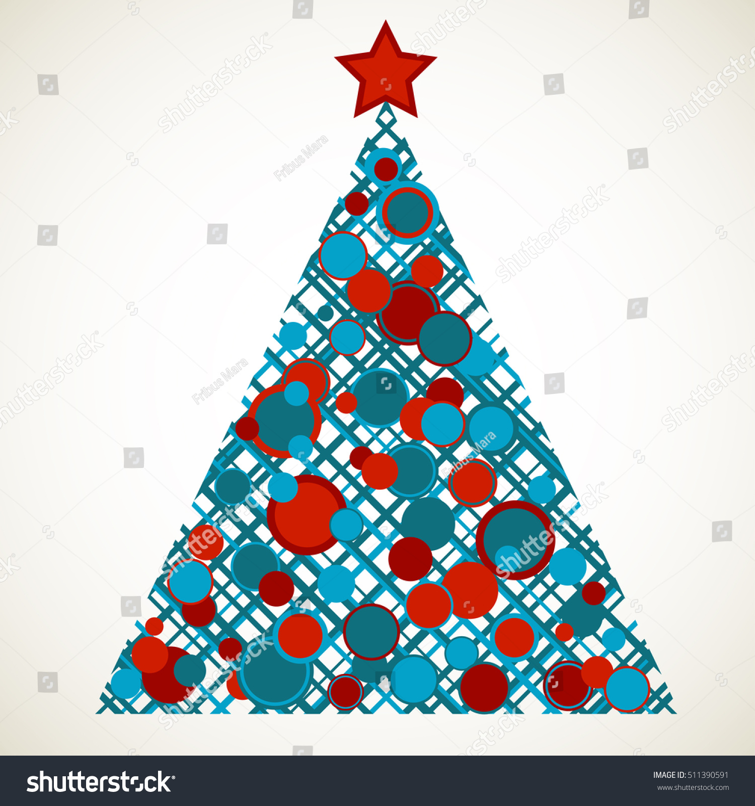 Stylized christmas tree scattered ornaments stock