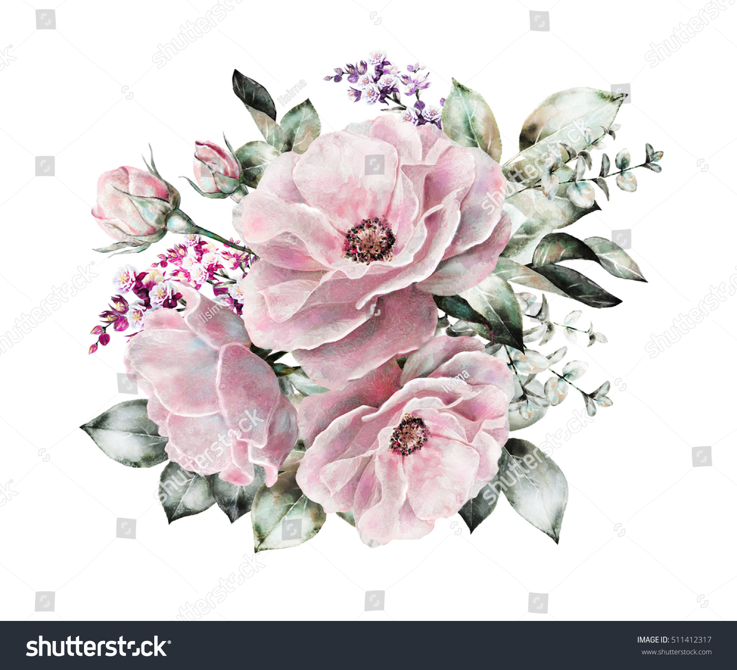 Watercolor flowers floral illustration flower pastel stock watercolor flowers floral illustration flower in pastel colors pink rose branch of mightylinksfo Gallery