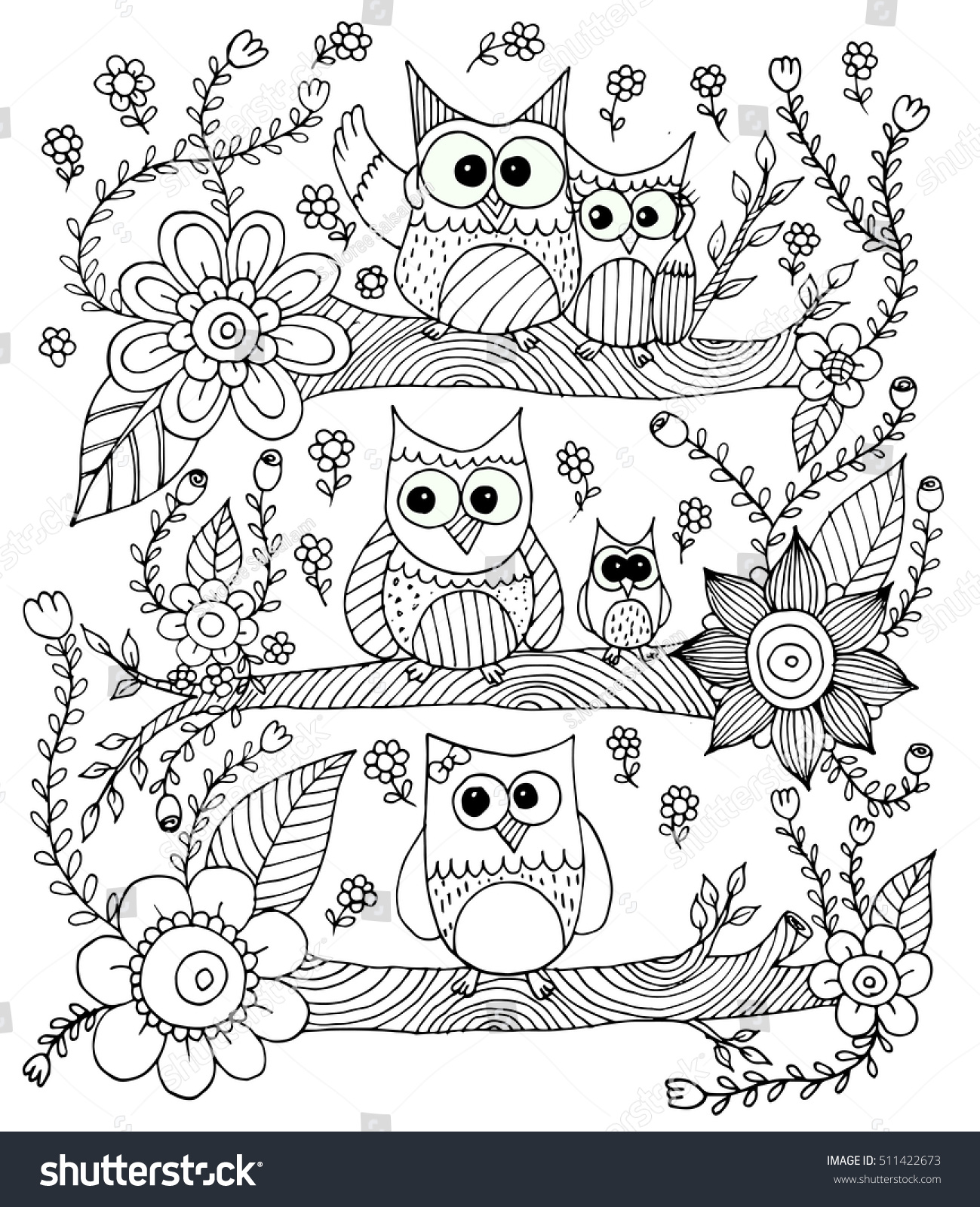 owls flower butterfly doodle vector coloring stock vector