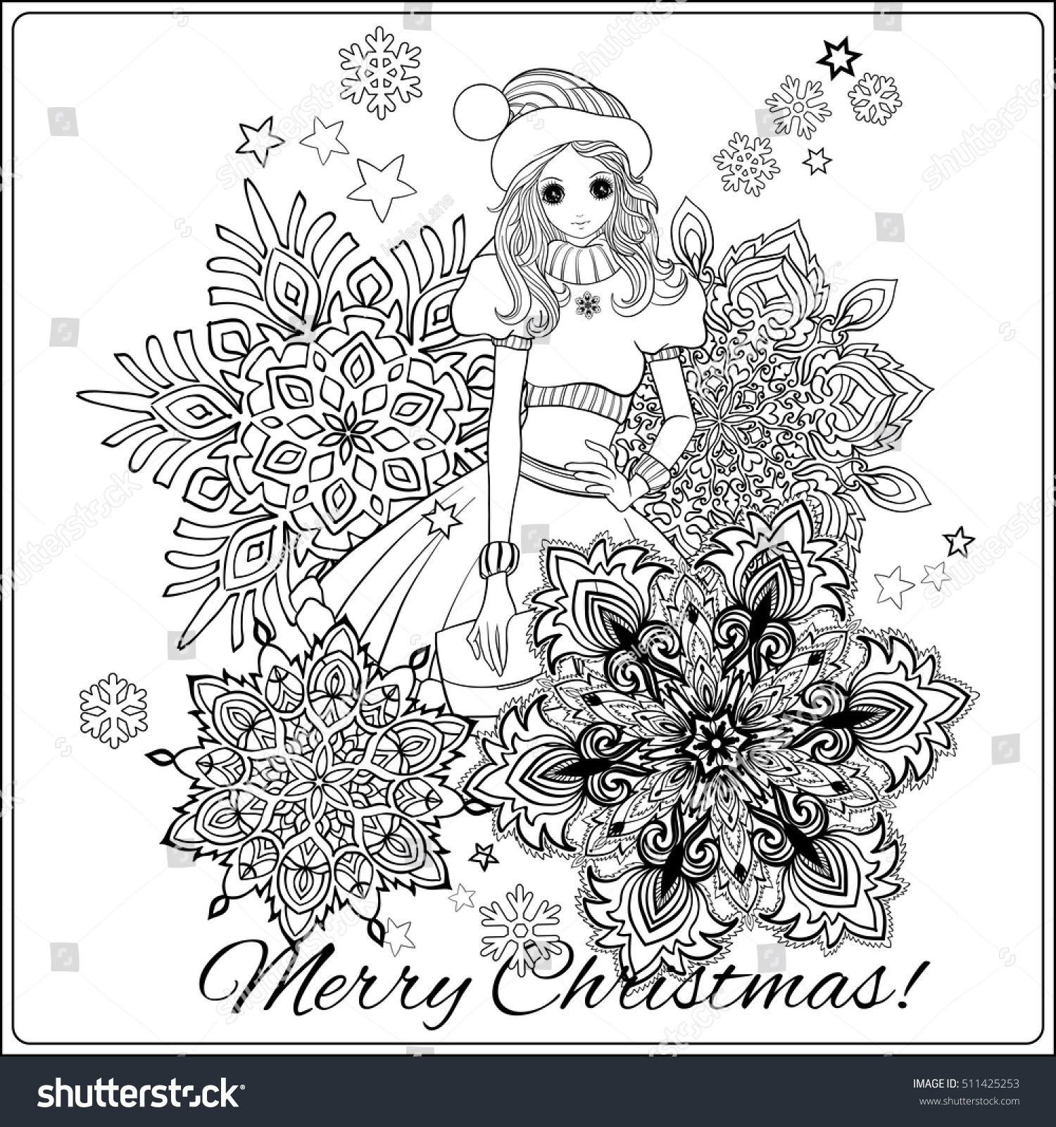 girl in the of santa claus costume and santas helpers hat with a snowflakes coloring