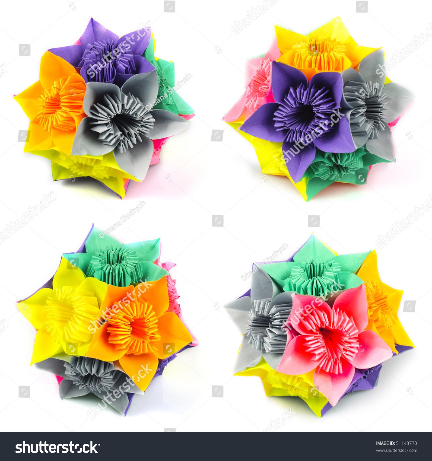 Colorfull origami kusudama rainbow flowers isolated stock photo colorfull origami kusudama from rainbow flowers isolated on white view from four angles jeuxipadfo Gallery