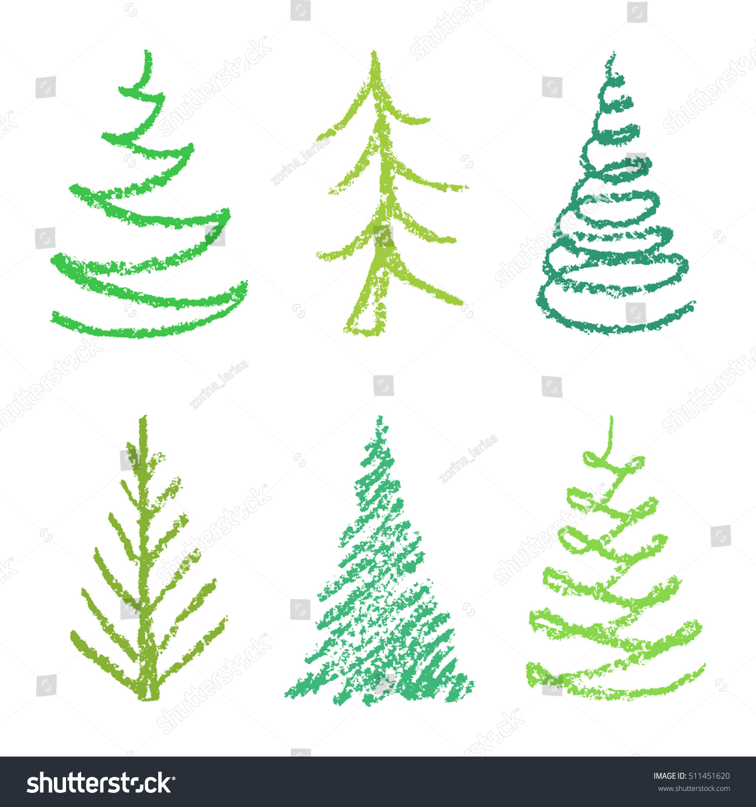 Crayon Childs Drawing Merry Christmas Tree Stock Vector 511451620 ...
