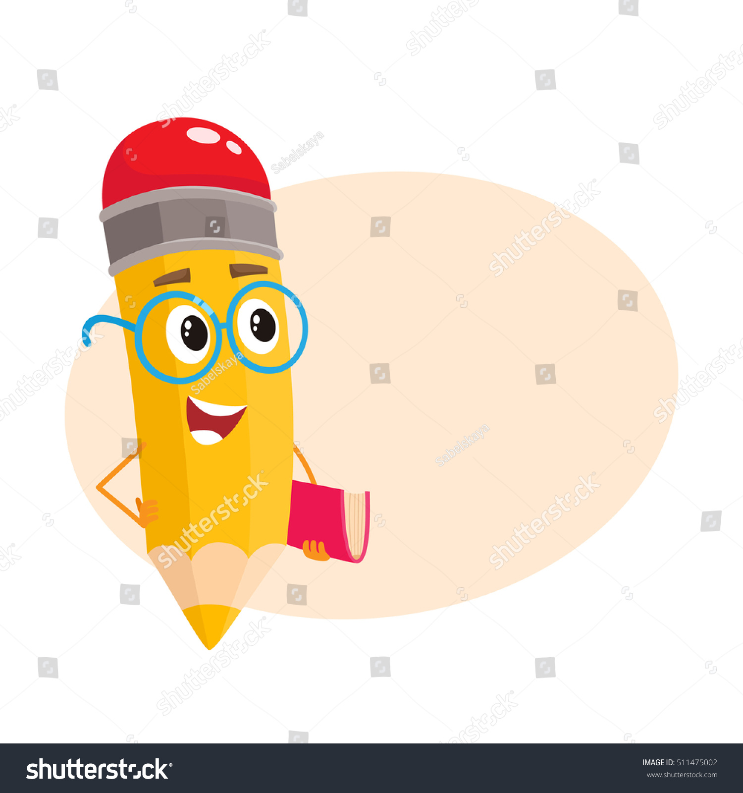 Larger preview vector clip art of a happy yellow coffee cup character - Yellow Cartoon Pencil In Glasses Telling Something Clever And Pointing Finger Up Vector Illustration Isolated