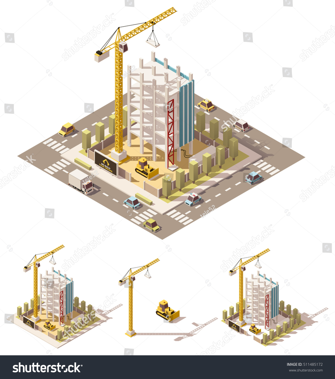 Vector Isometric Low Poly Building Construction Stock ...