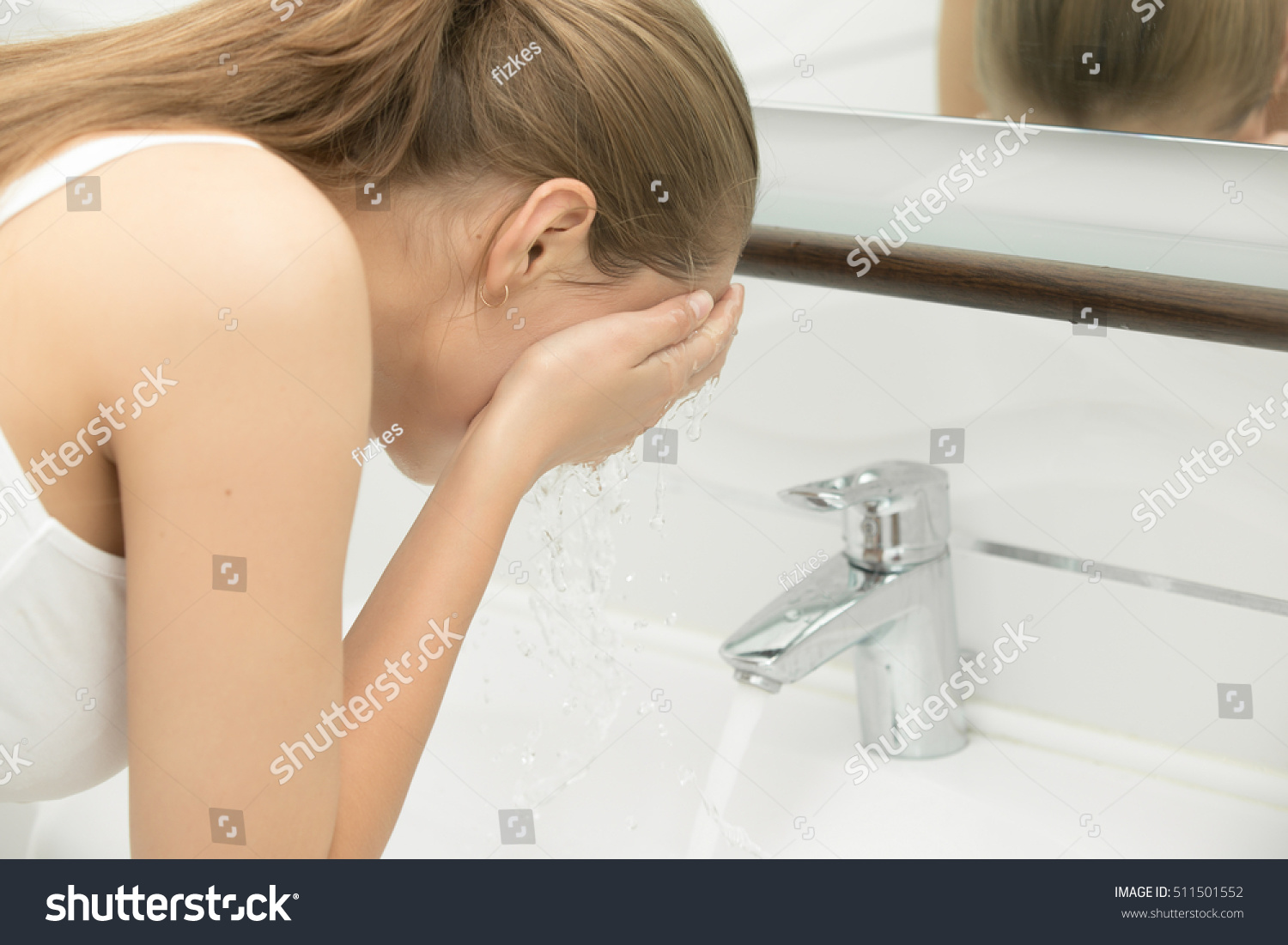 Young Female Washing Her Face Clear Stock Photo (Safe to Use ...