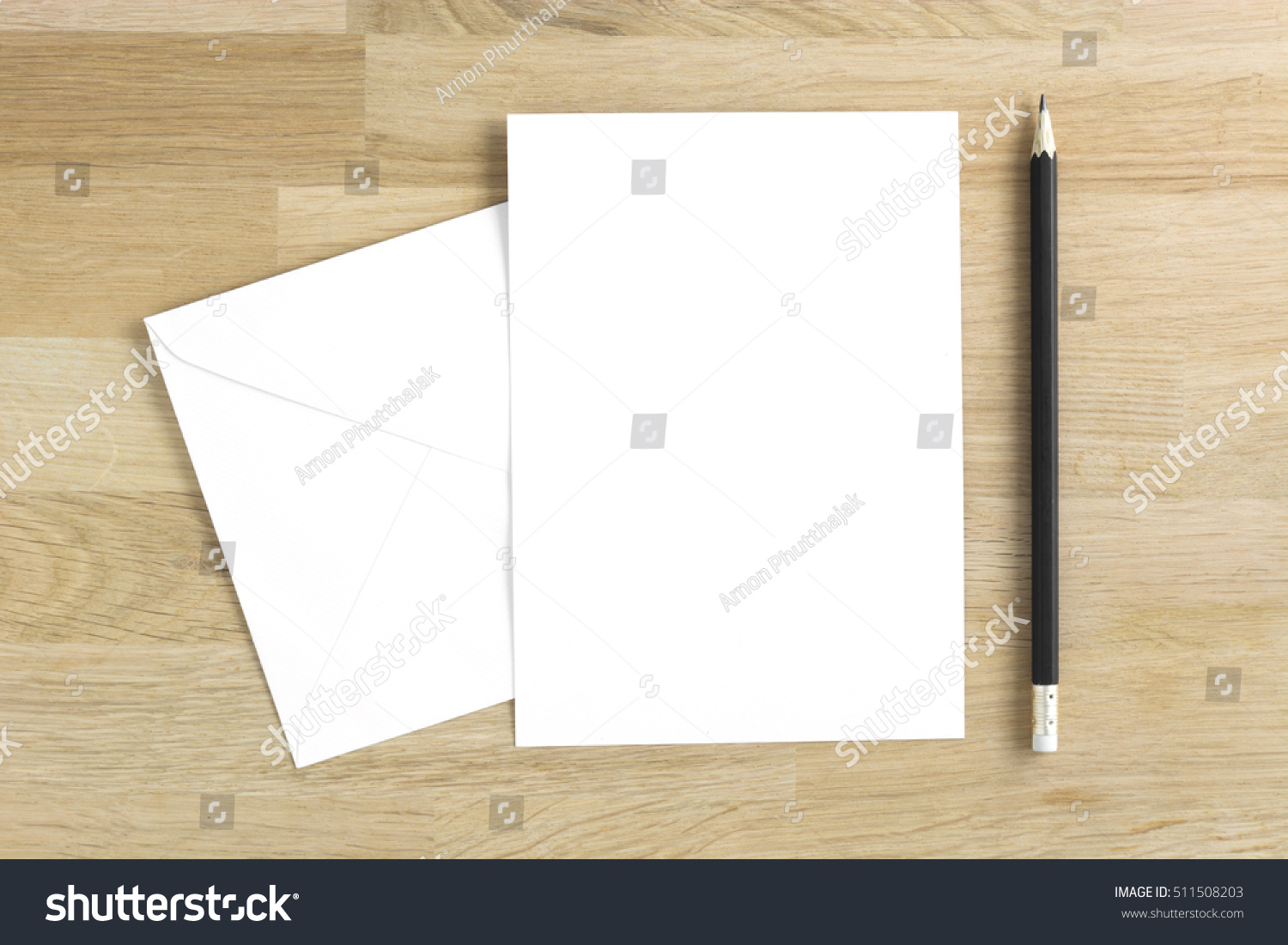 Royalty Free Blank Greeting Card Mockup With Pencil 511508203