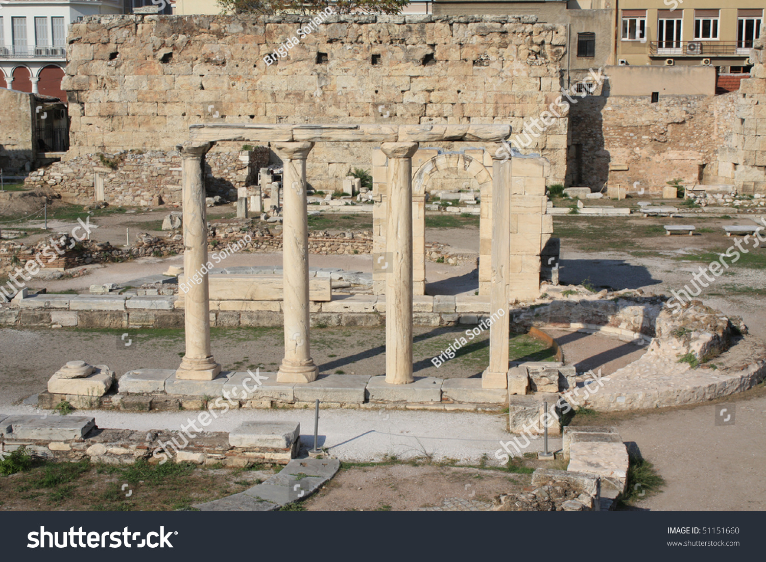 Ancient Ruins Of The Agora In The Centre Of Athens, Greece ...