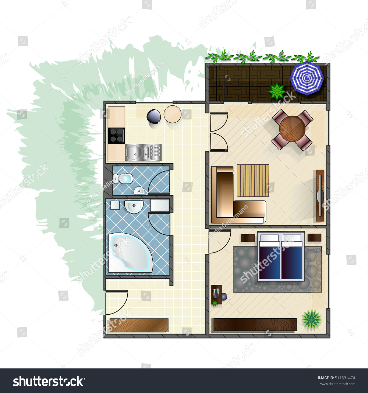 Architecture Plan Furniture Top View 2rooms Stock Vector