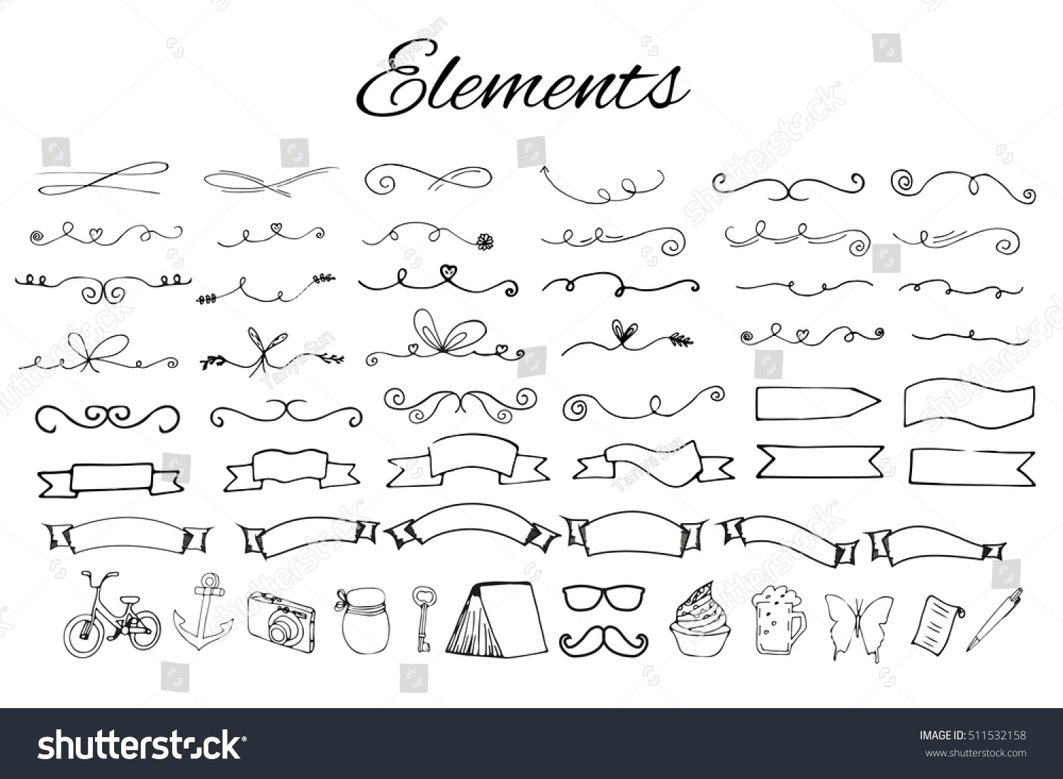 Hand drawn elements with arrows ribbons laurels badges squares circles isolated on white background and easy to use Design your own perfect project Vector illustration