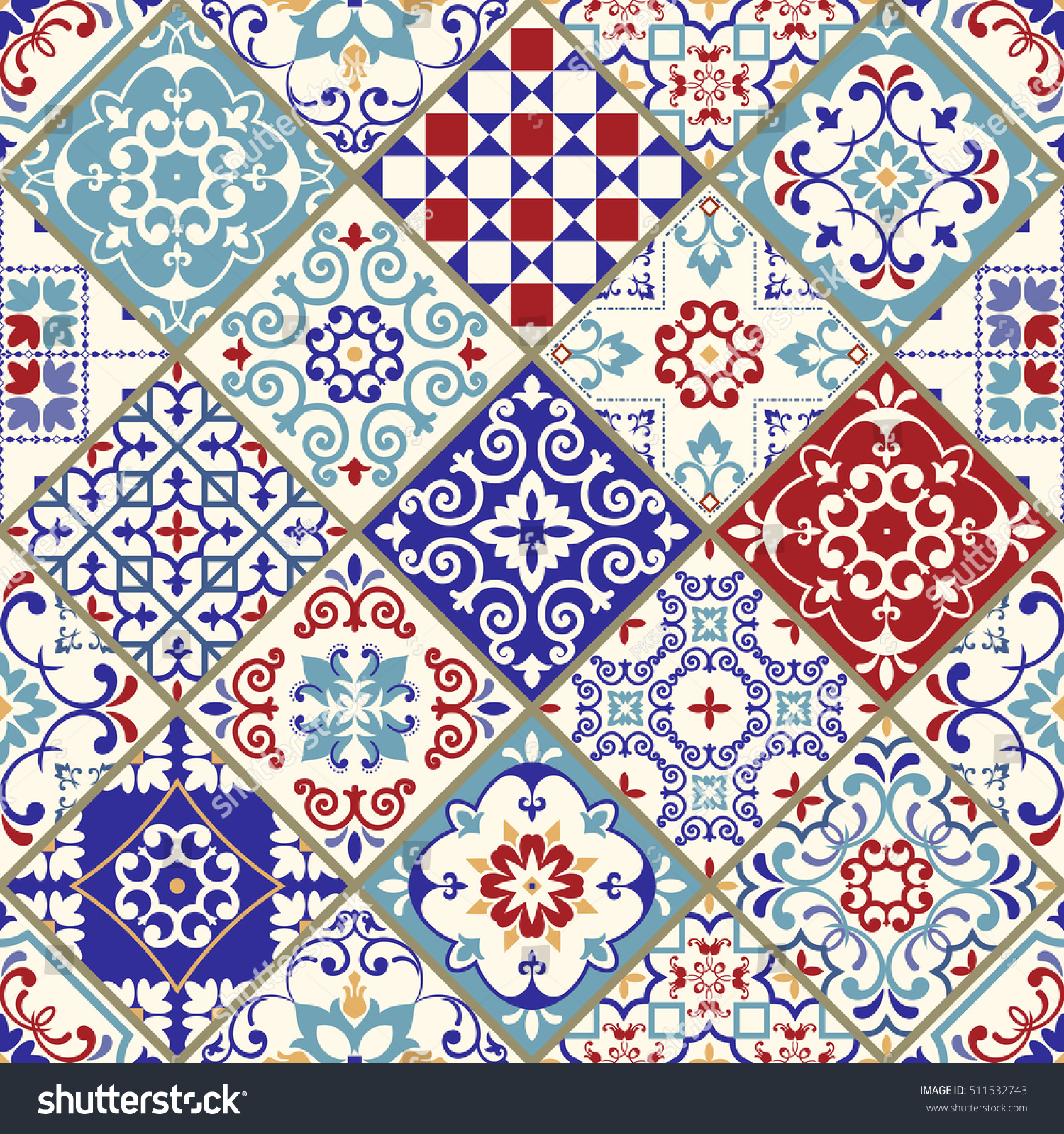 Seamless Vintage Pattern Colorful Patchwork Turkish Stock ...