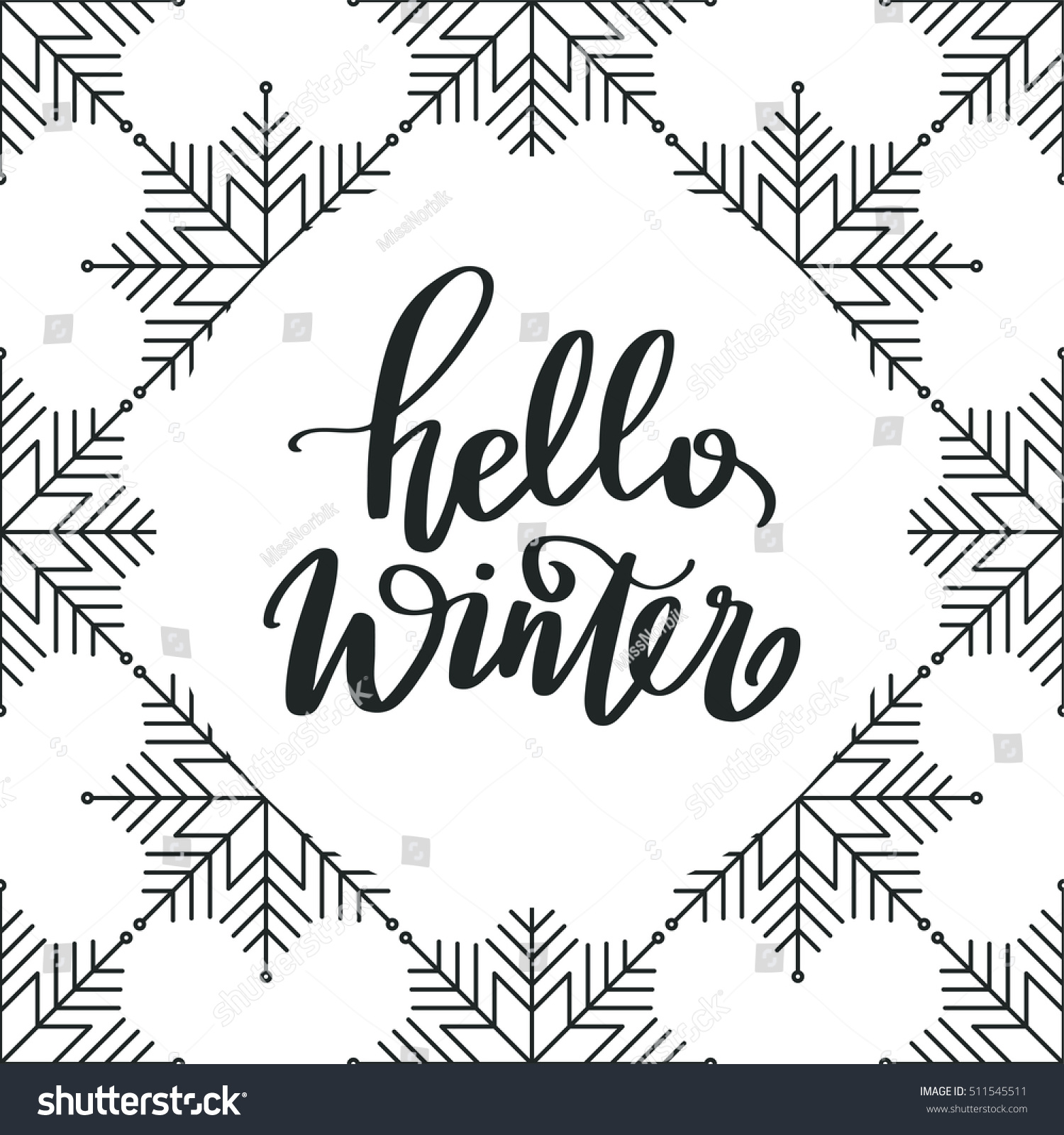 Vector Hand Lettering   Hello Winter, With Snowflakes Background. Holiday  Banner. Winter Backdrop