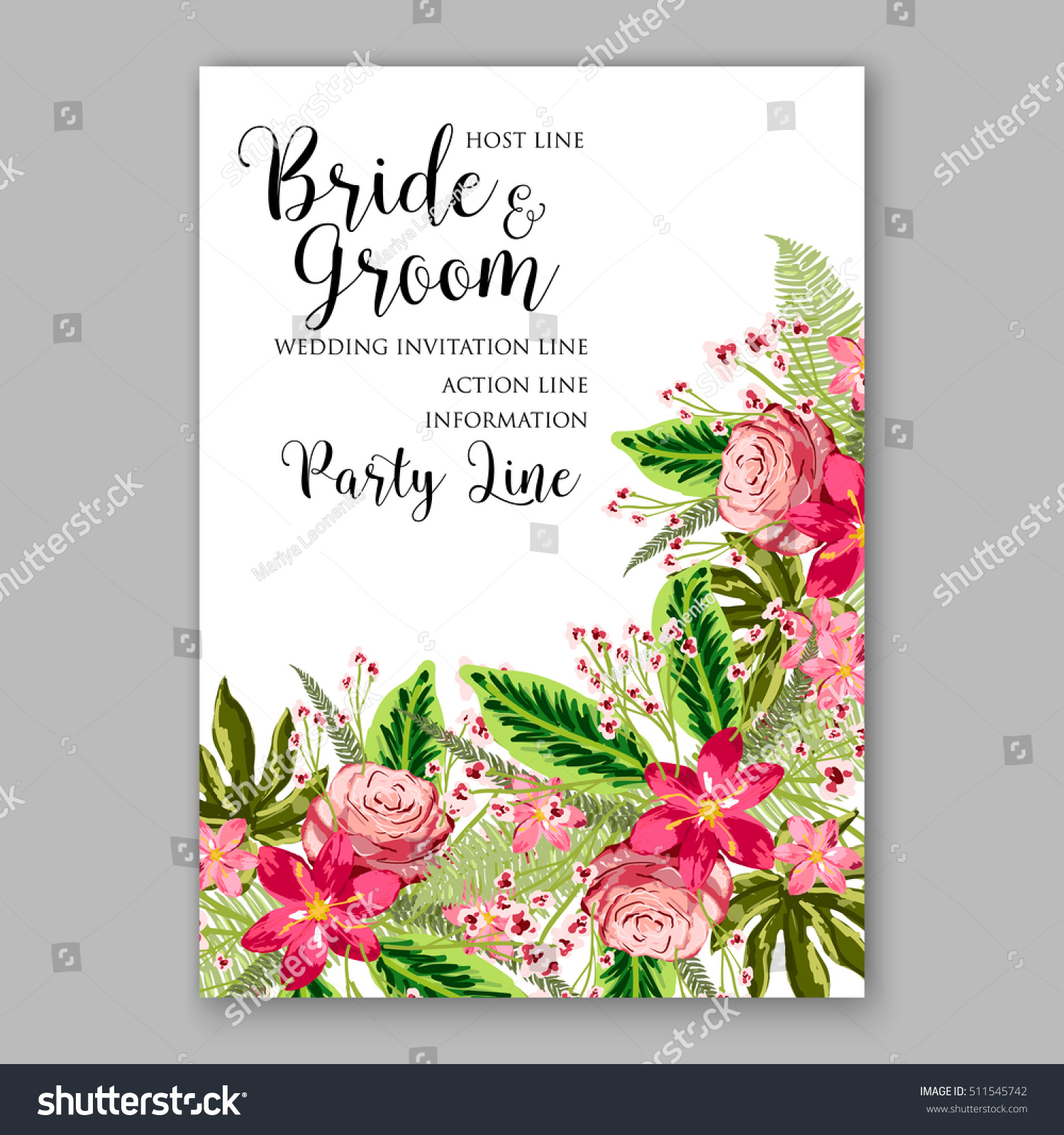 Tropical red hibiscus pink rose tropical stock vector 511545742 tropical red hibiscus and pink rose with tropical palm leaf wreath romantic wedding invitation template monicamarmolfo Gallery