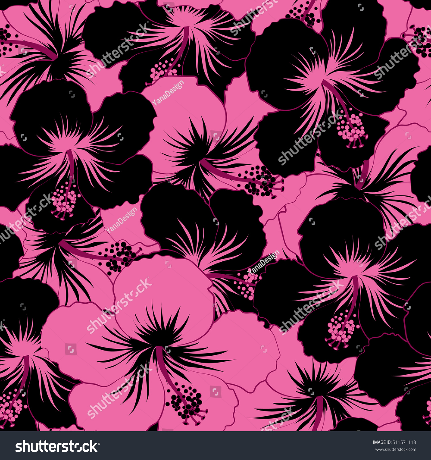 Seamless Tropical Design Hibiscus Black Pink Stock Illustration