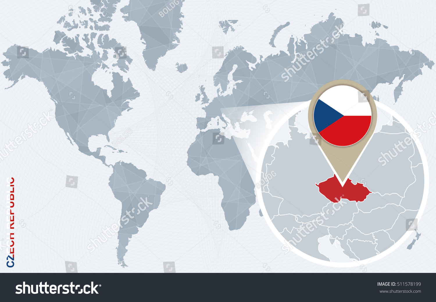 Abstract Blue World Map Magnified Czech Stock Illustration - World map in czech language