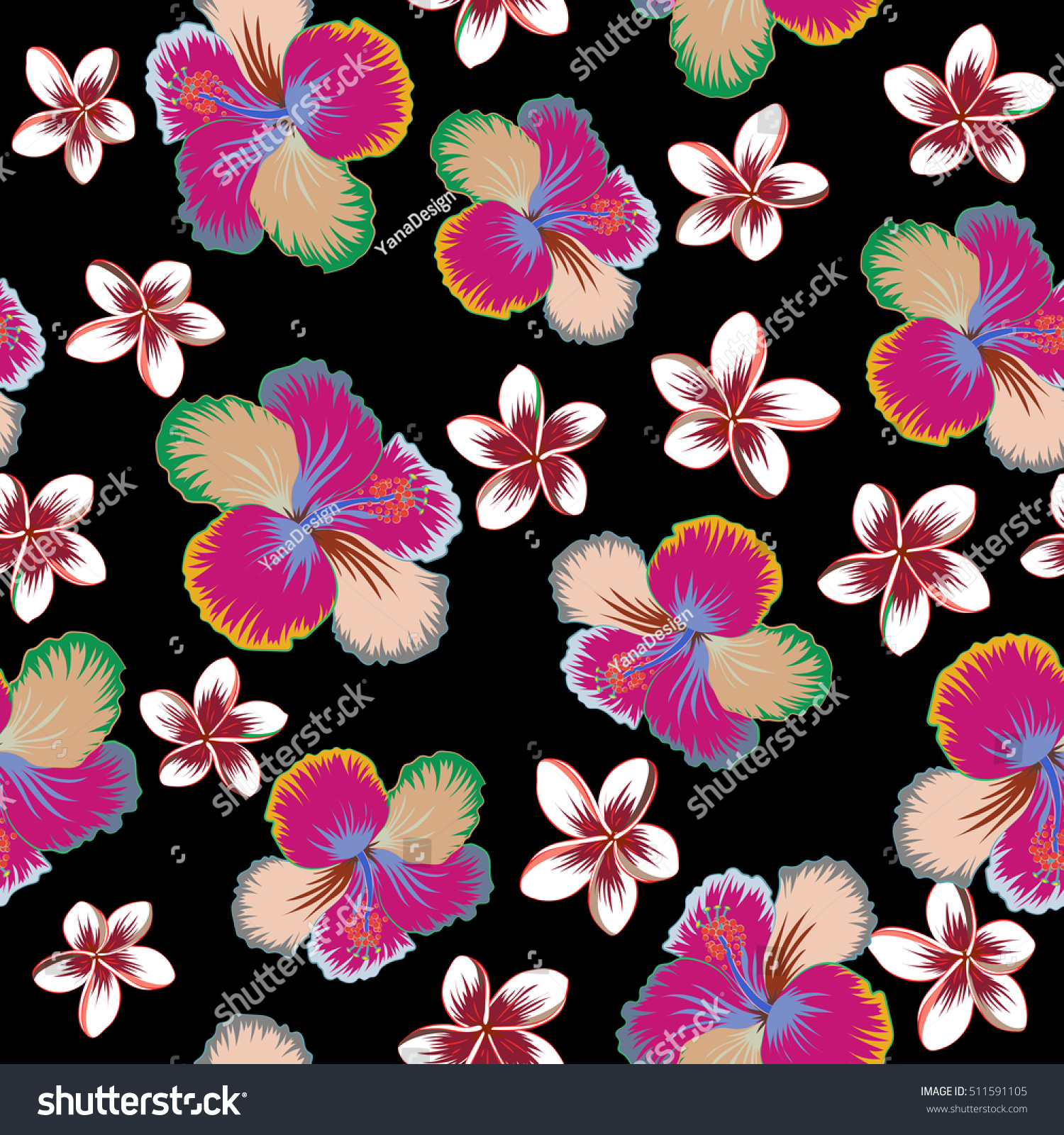 Bright Hawaiian Design With Tropical Plants Hibiscus And Plumeria