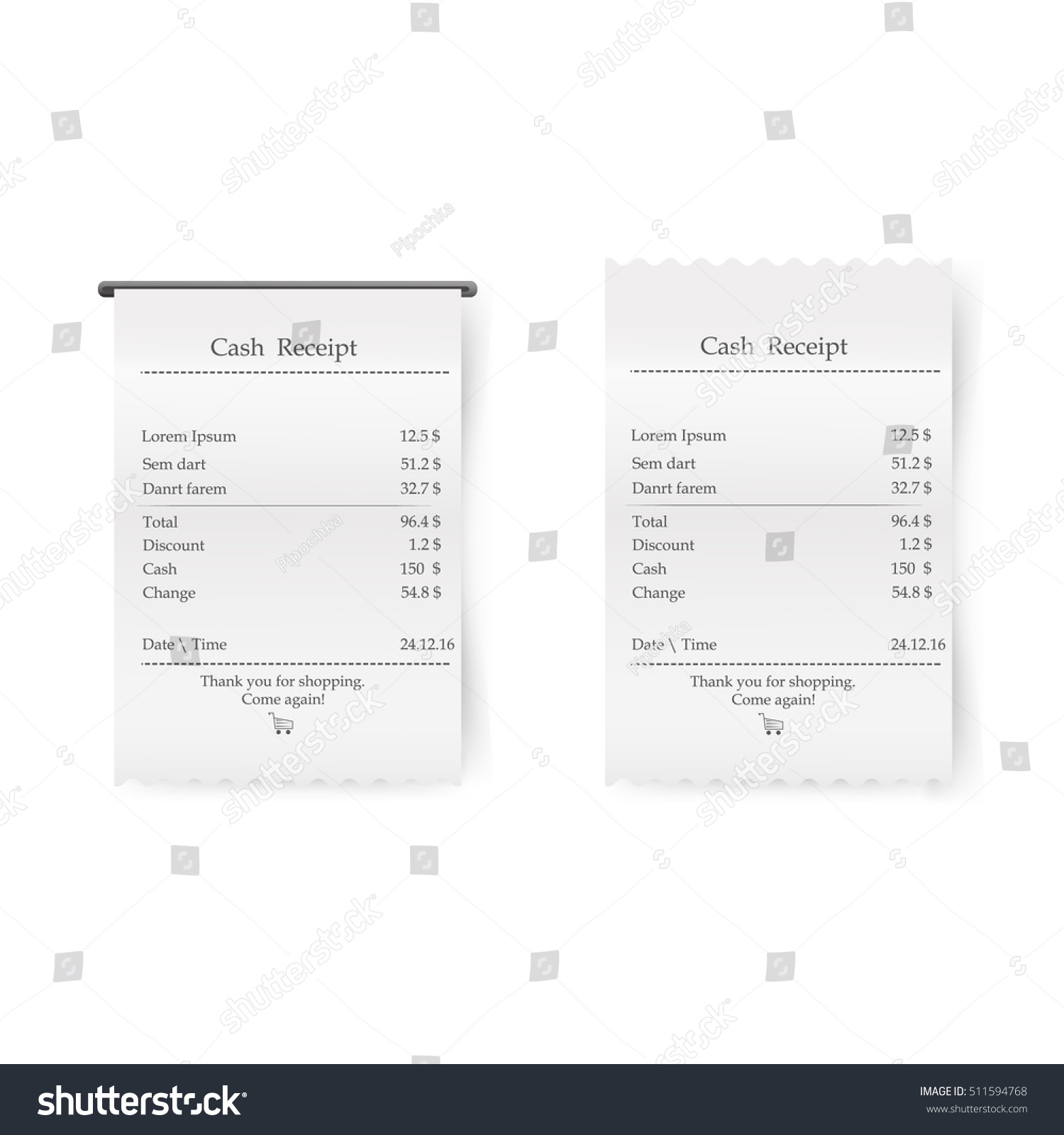 Sales Printed Receipt Vector. Bill Atm Template, Cafe, Shopping Or  Restaurant Paper Financial