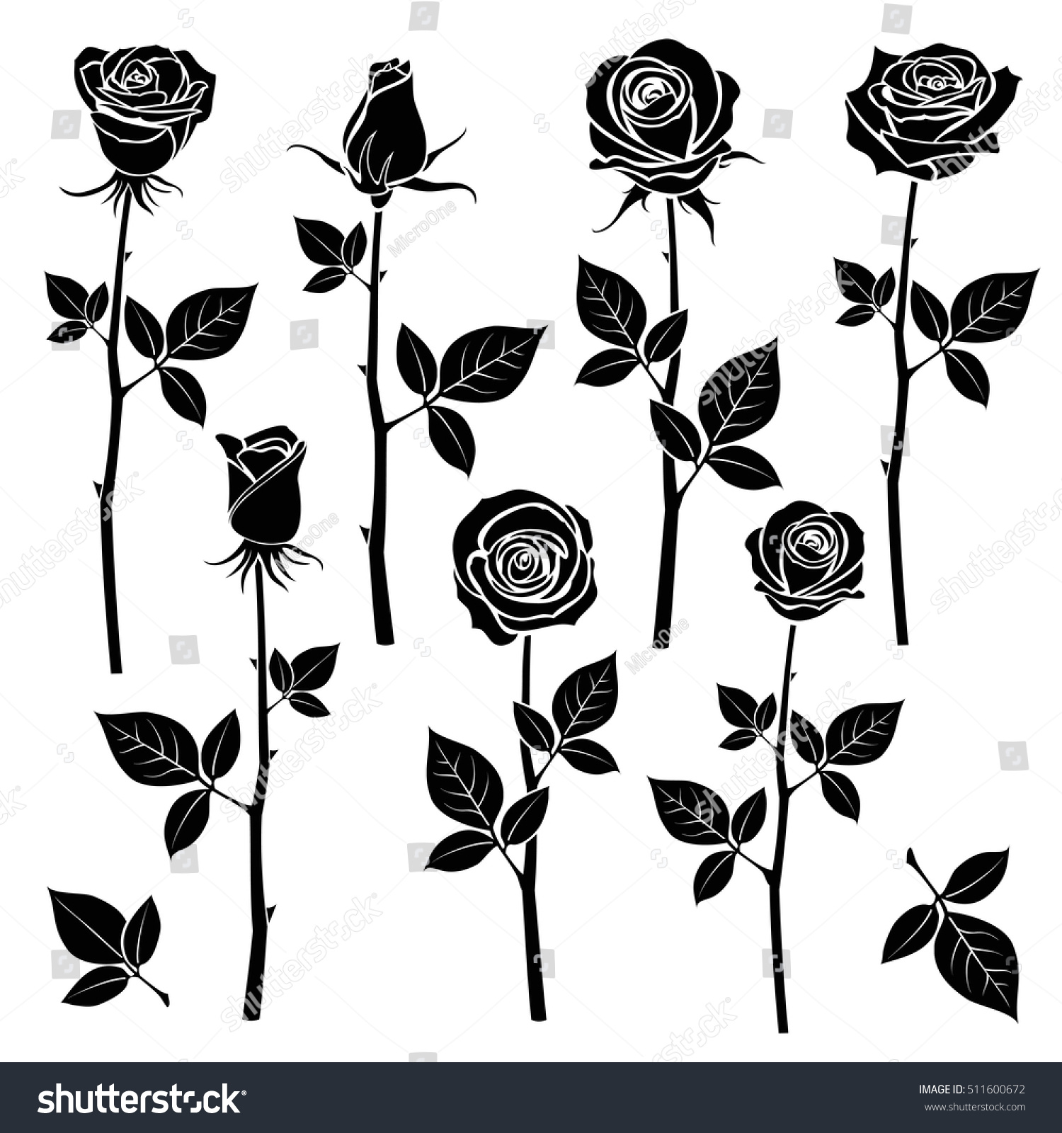 rose silhouettes spring buds vector symbols stock vector 511600672 shutterstock. Black Bedroom Furniture Sets. Home Design Ideas