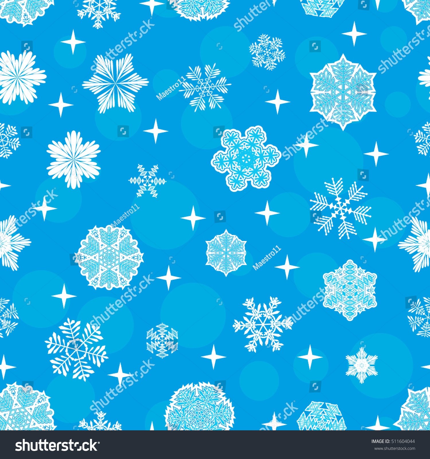 pattern snowflakes on blue background vector stock vector