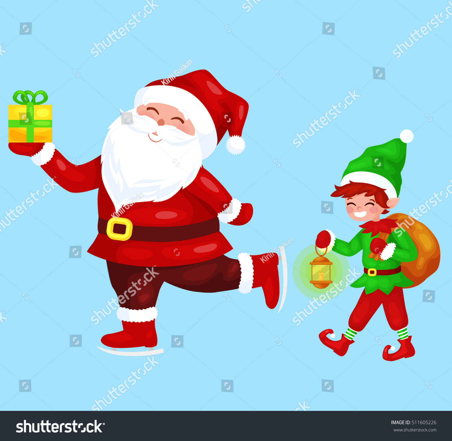 Merry Christmas Funny Images.Merry Christmas Funny Santa Claus Gift Stock Vector Royalty