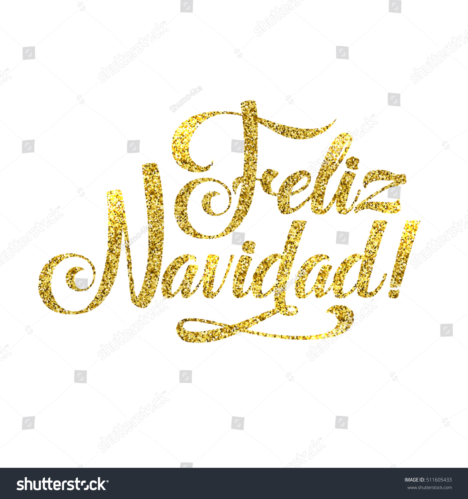 Gold Spanish Merry Christmas Card Golden Stock Illustration ...