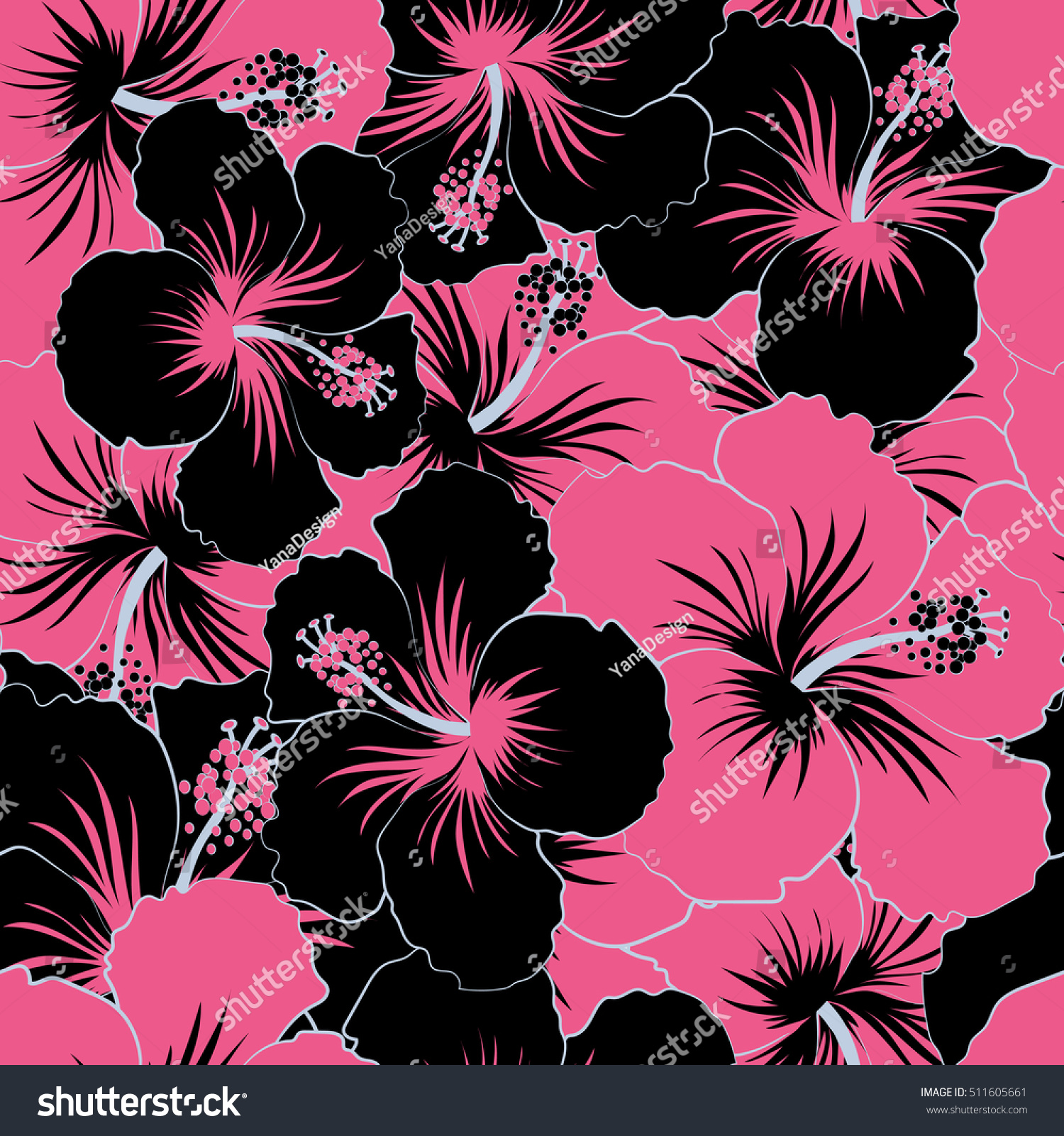 Seamless Pattern Of Stylized Floral Motif Flowers Hole Spots