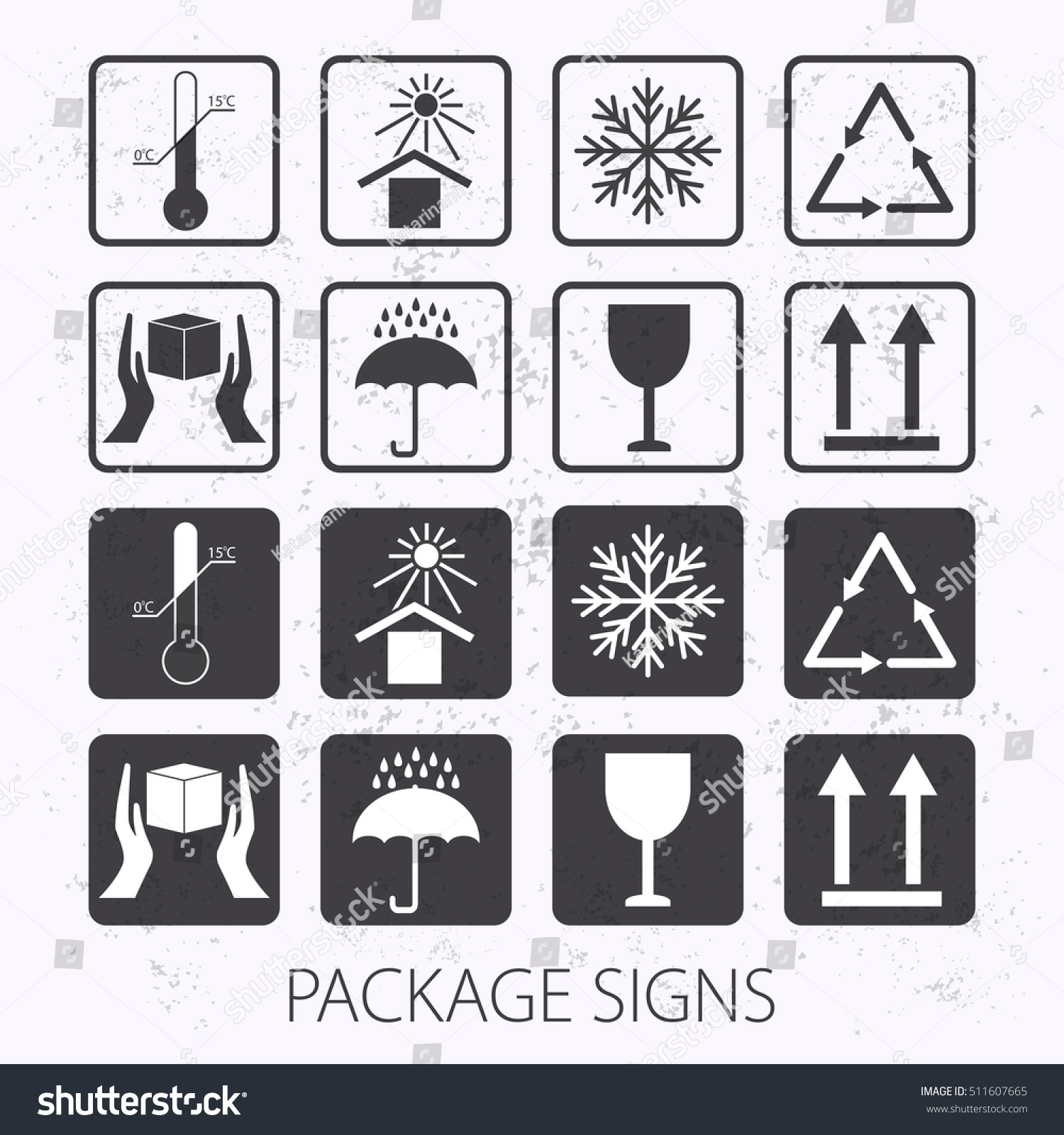 Vector packaging symbols on vector grunge stock vector 511607665 vector packaging symbols on vector grunge background icon set including fragile this side up biocorpaavc Gallery