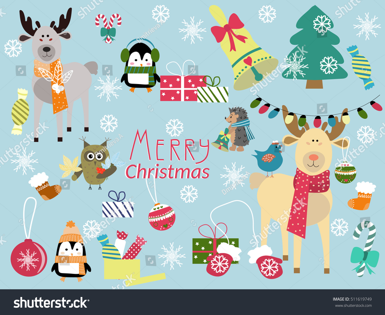 cute animals christmas vector illustration penguins stock vector