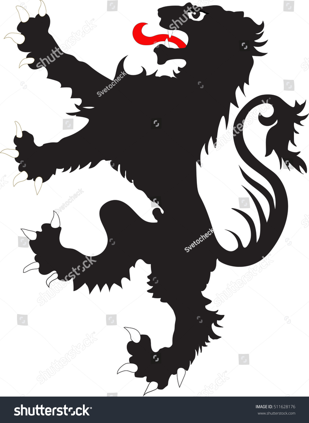 rebels lion heraldic symbol used flags stock vector
