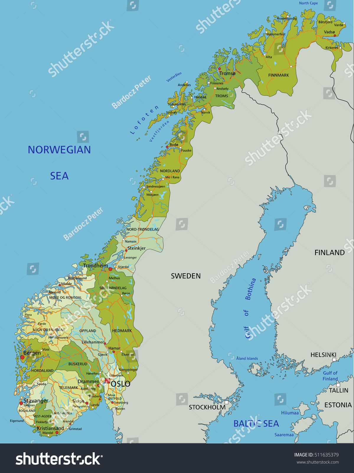 Highly Detailed Editable Political Map Separated Stock Vector - Aland islands political map