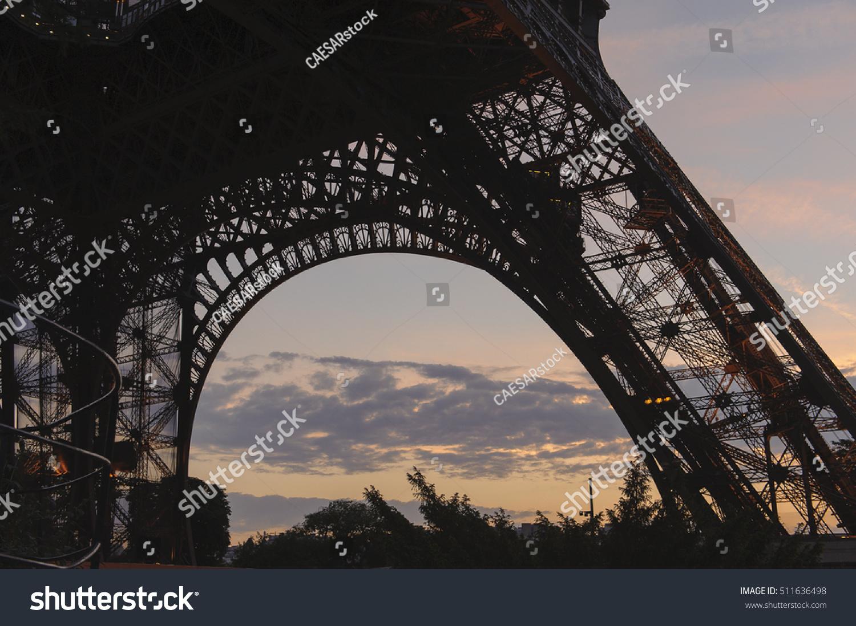 Purple Sunset Behind Base Eiffel Tower Stock Photo Edit Now 511636498