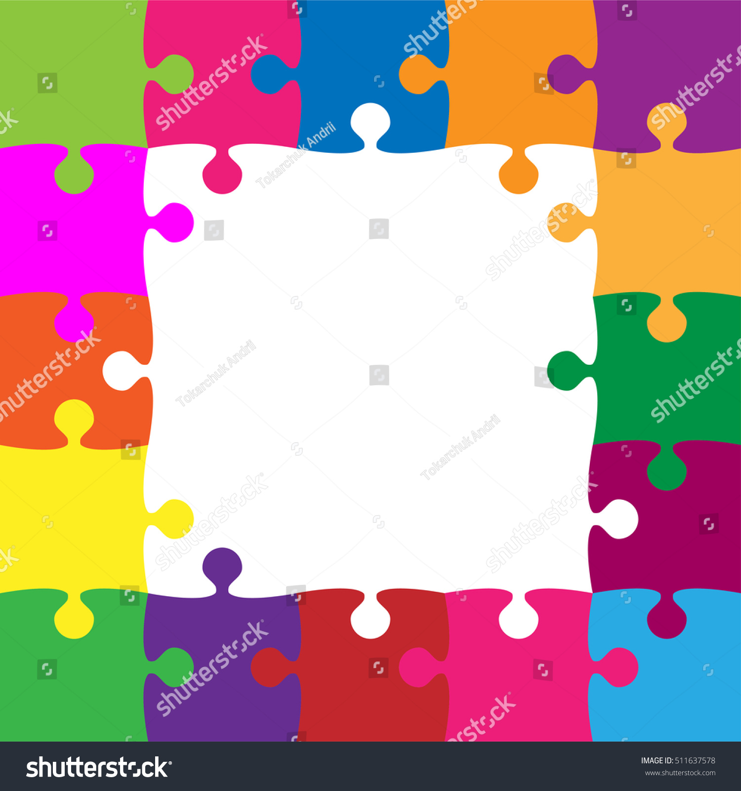 Frame color puzzle pieces arranged square stock vector 511637578 frame color puzzle pieces arranged in a square jigsaw puzzle blank template or cutting guidelines jeuxipadfo Images
