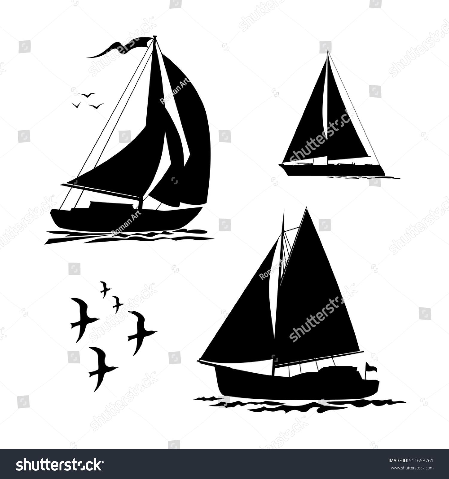 yacht sailboats gull set black silhouette stock vector 511658761