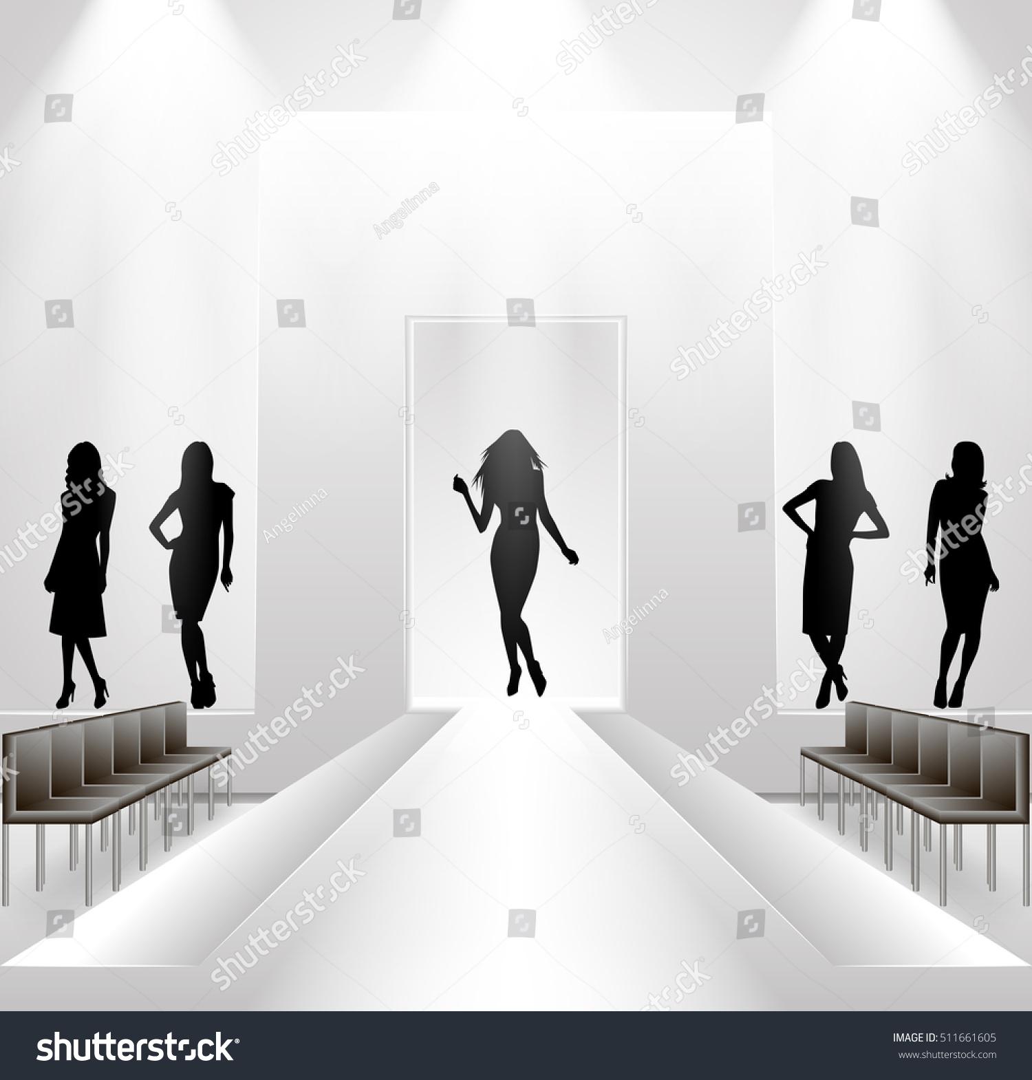 Illustration Fashion Show Rehearsal Female Silhouettes Stock Vector