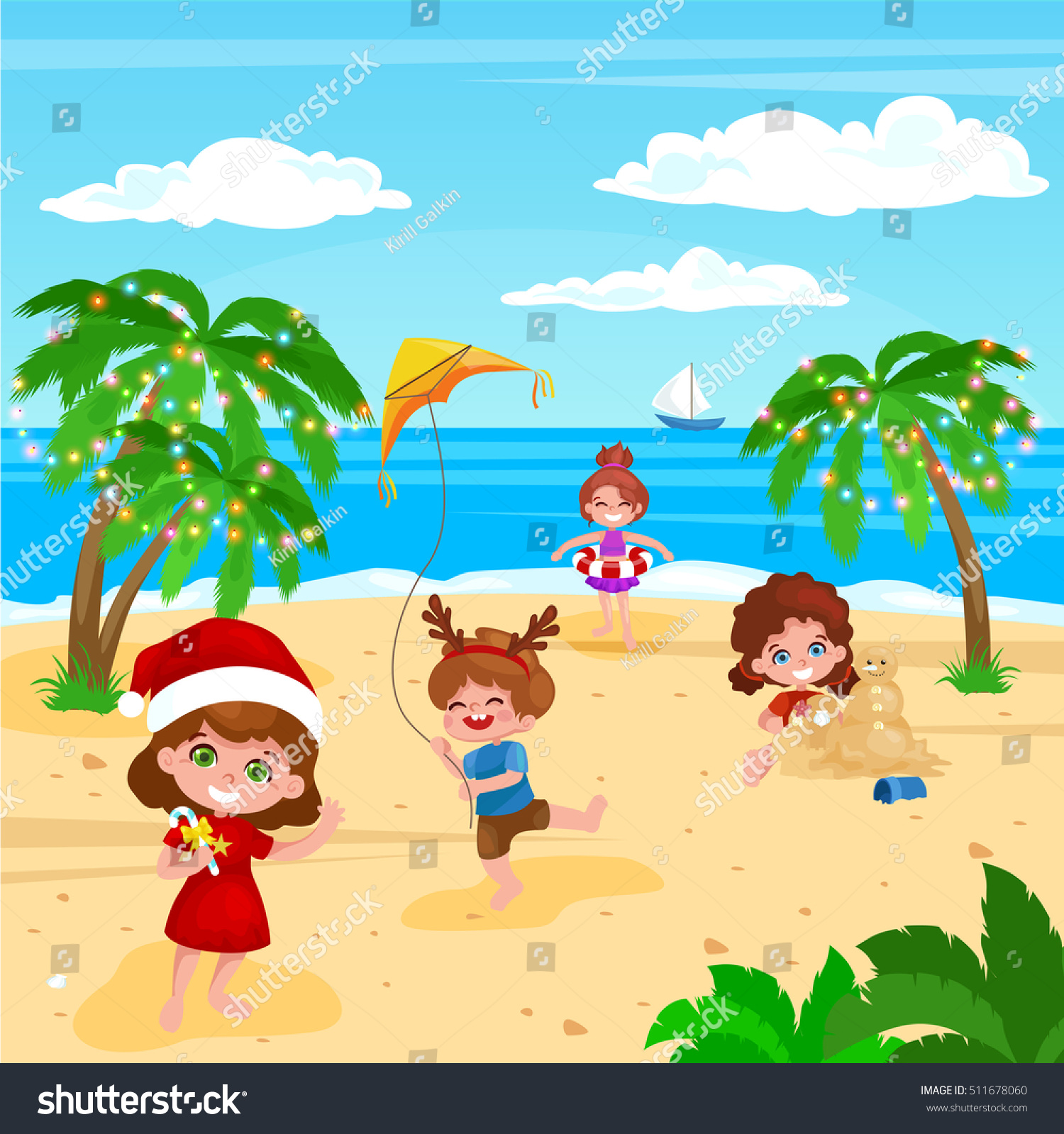 Children Playing Christmas Vacation On Beach Stock Vector ...