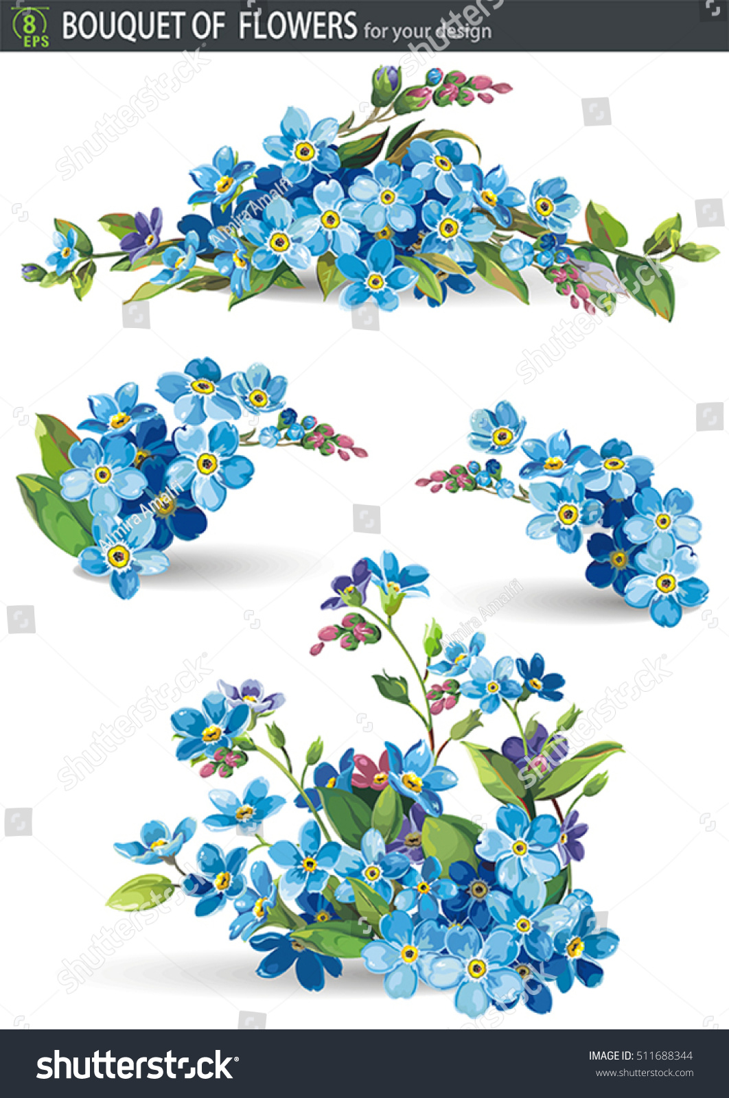 Blue Forget Me Not Spring Flowers Stock Vector Royalty Free