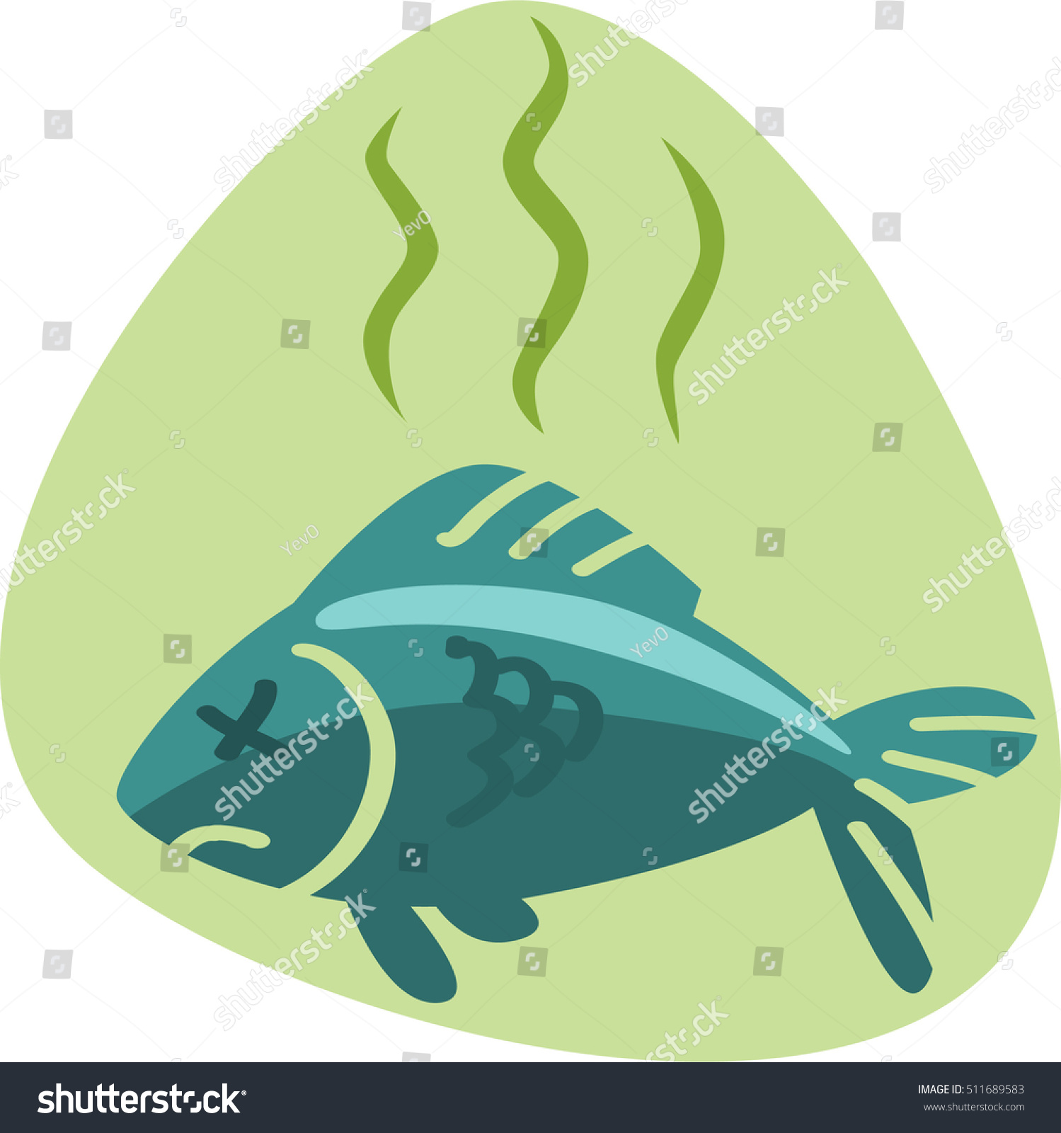 Stinky smell dead fish isolated symbol stock vector for Stinky fish in a can