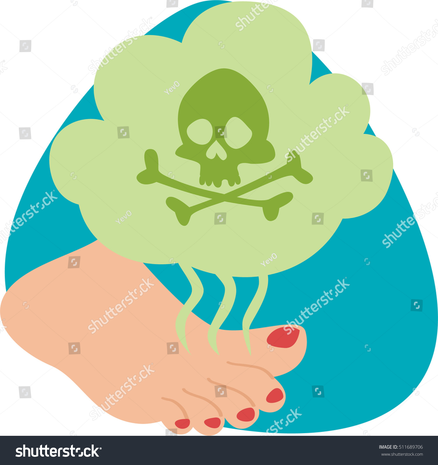 Stinky Feet Red Nails Green Cloud Stock Vector Royalty Free
