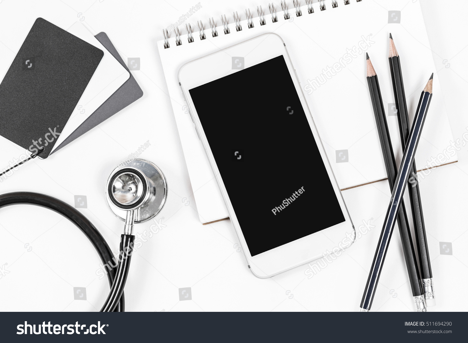 Doctor Desk Top View Shot Above Stock Photo Edit Now 511694290 Electronics Project Electronic Stethoscope Designing Engineering From Of Table With Notebook Paper Pen