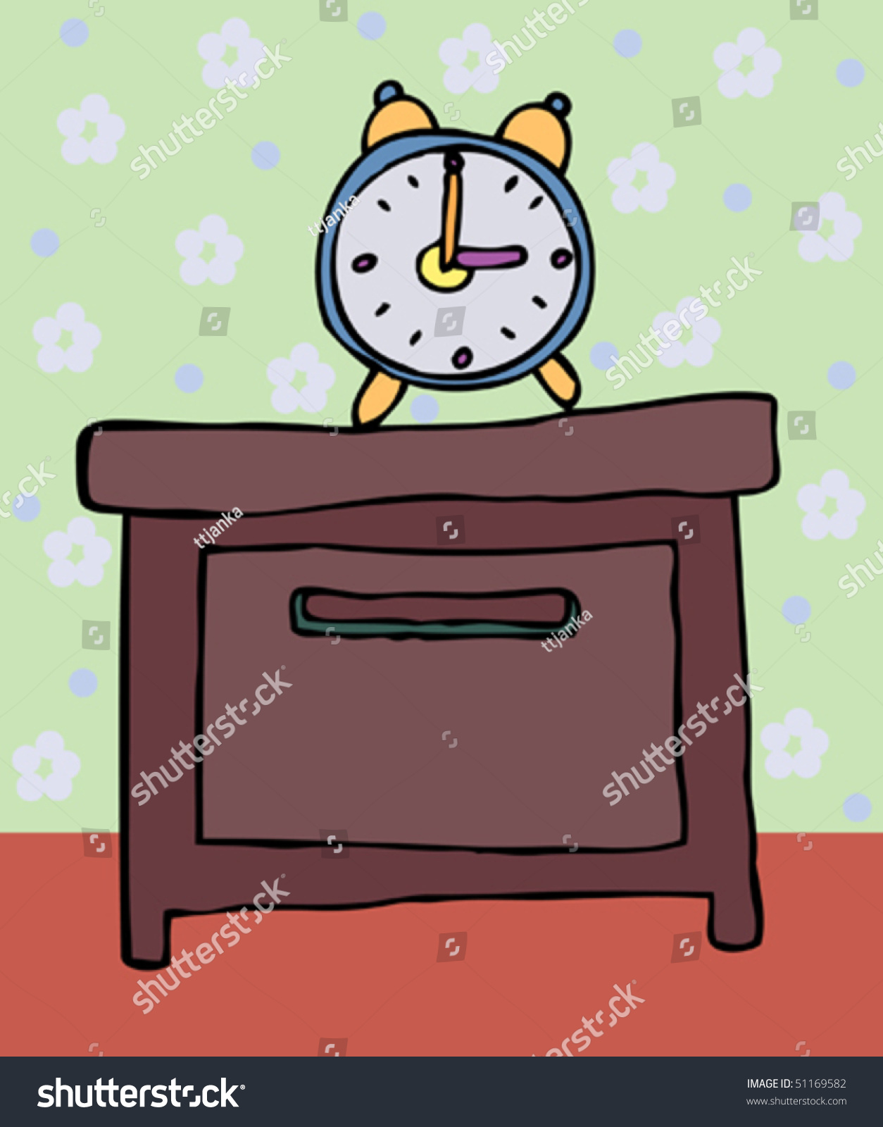 Bedside table clipart  Alarm Clock Stands On Bedside Table Stock Vector 51169582 ...